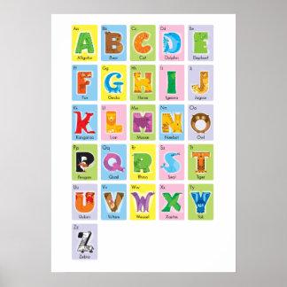 Alfabeto animal - estilo de la tarjeta flash poster