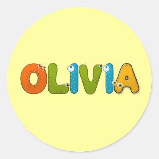 alfabeto animal Olivia Pegatina Redonda