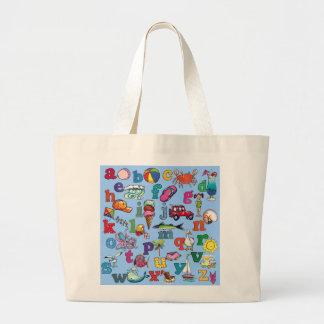 alfabeto-bahía-tote bolsa tela grande