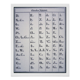 Alfabeto cherokee, desarrollado en 1821 (impresión impresiones