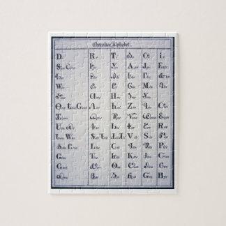 Alfabeto cherokee, desarrollado en 1821 (impresión puzzles con fotos