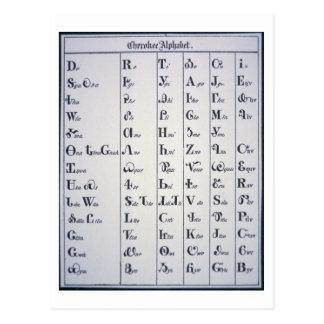 Alfabeto cherokee, desarrollado en 1821 tarjeta postal
