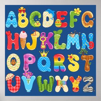 Alfabeto colorido hermoso para los niños, el sitio póster