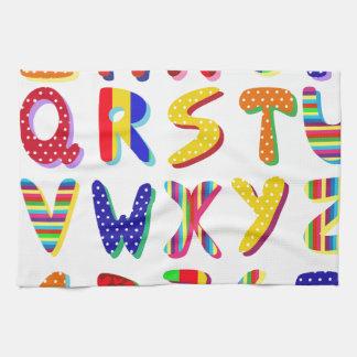 alfabeto colorido toalla de mano