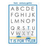 alfabeto conocido postal