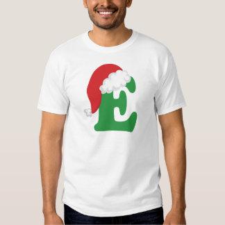 Alfabeto de la letra E del navidad Polera