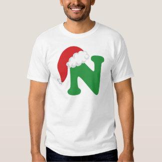 Alfabeto de la letra N del navidad Camisas