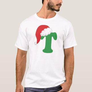 Alfabeto de la letra T del navidad Playera