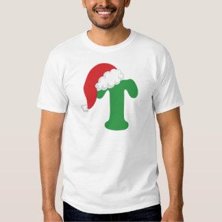 Alfabeto de la letra T del navidad Remeras