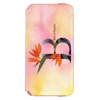 Alfabeto de las flores con el fondo de la acuarela funda billetera para iPhone 6 watson