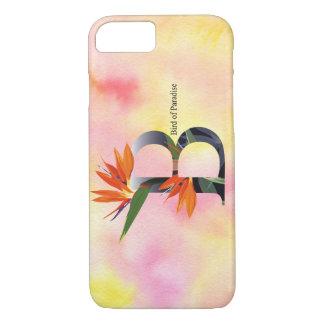 Alfabeto de las flores con el fondo de la acuarela funda iPhone 7