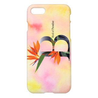 Alfabeto de las flores con el fondo de la acuarela funda para iPhone 7