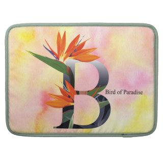 Alfabeto de las flores con el fondo de la acuarela funda para macbook pro