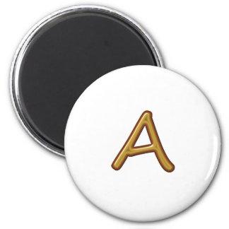 Alfabeto de oro A AA AAA Base del vintage Iman De Frigorífico