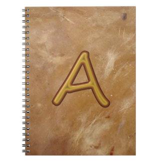 Alfabeto de oro A AA AAA: Base del vintage Libro De Apuntes Con Espiral