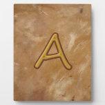 Alfabeto de oro A AA AAA: Base del vintage Placa Para Mostrar