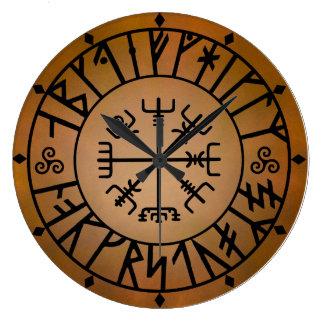 Alfabeto de Viking Reloj Redondo Grande
