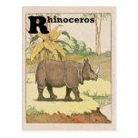 Alfabeto del libro de la historia del rinoceronte postal
