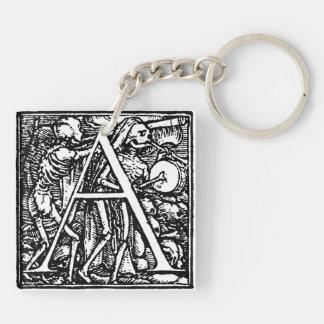 Alfabeto del llavero de la letra A de la muerte