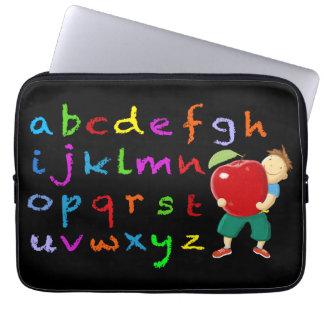 Alfabeto del tablero de tiza funda portátil