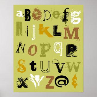 Alfabeto en verde póster