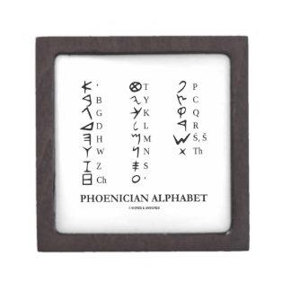 Alfabeto fenicio (símbolos antiguos de la lengua) caja de recuerdo de calidad