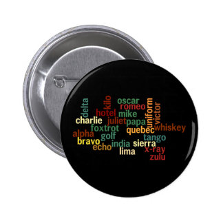 Alfabeto fonético de OTAN (fondo oscuro) Pin Redondo 5 Cm