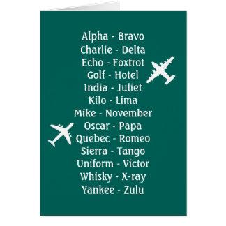 Alfabeto fonético experimental del avión de la tarjeta de felicitación