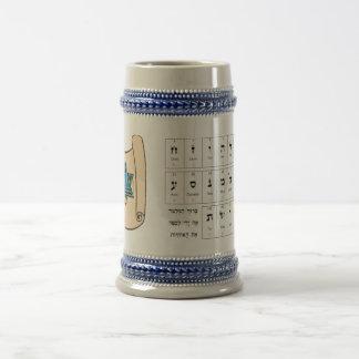Alfabeto hebreo y simbolismo jarra de cerveza