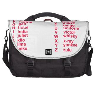 Alfabeto internacional bolsas de portatil