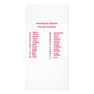 Alfabeto internacional tarjeta fotografica