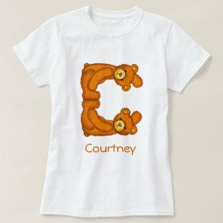 Alfabeto Letter~C~Initial Shirt~Custom del oso de Playera