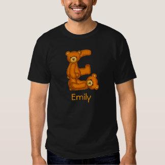 Alfabeto Letter~E~Initial Shirt~Custom del oso de Playera