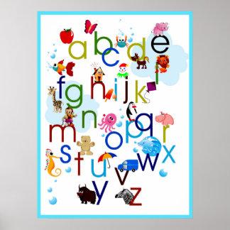Alfabeto lindo de los animales del dibujo animado impresiones