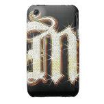 Alfabeto M de Bling Case-Mate iPhone 3 Protectores