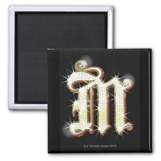 Alfabeto M de Bling Imán Cuadrado