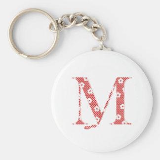 alfabeto M de la flor (rojo y puntos) Llavero Redondo Tipo Pin