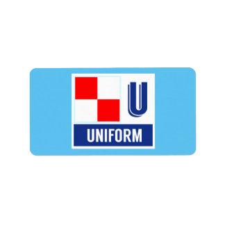 """Alfabeto náutico U """"uniforme """" de la bandera de la Etiquetas De Dirección"""