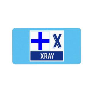 """Alfabeto náutico X """"radiografía """" de la bandera de Etiqueta De Dirección"""