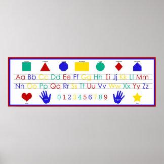 Alfabeto, números, y poster de las formas póster