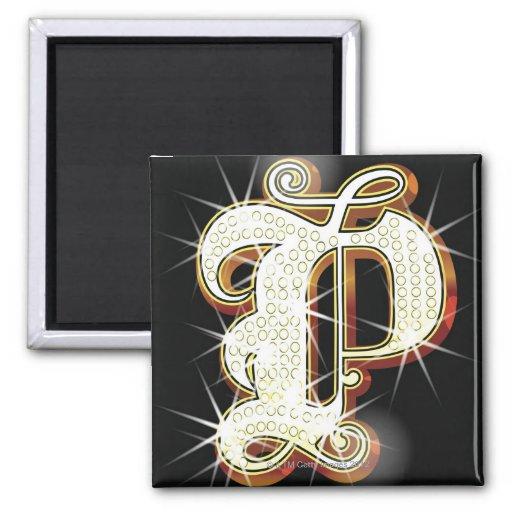 Alfabeto P de Bling Imán De Frigorifico