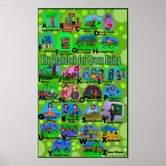 Alfabeto para la vida verde póster
