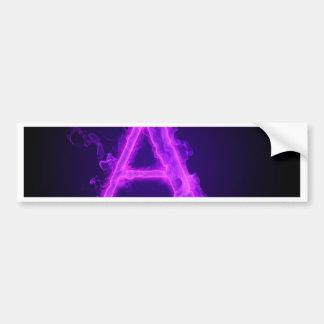 Alfabeto púrpura de la llama pegatina para auto