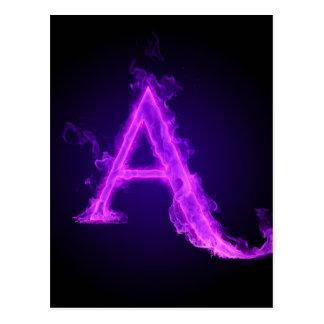 Alfabeto púrpura de la llama postales