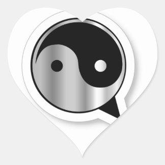 Alfabeto Q con ying y yang Calcomanías Corazones Personalizadas