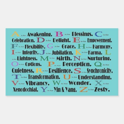 alfabeto que despierta a zesty rectangular pegatina