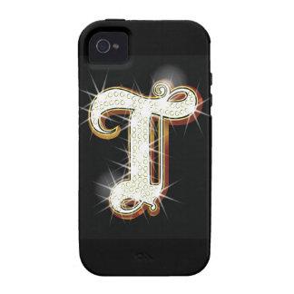 Alfabeto T de Bling iPhone 4 Fundas