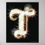 Alfabeto T de Bling Poster