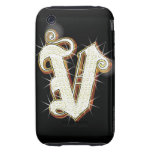 Alfabeto V de Bling Carcasa Though Para iPhone 3