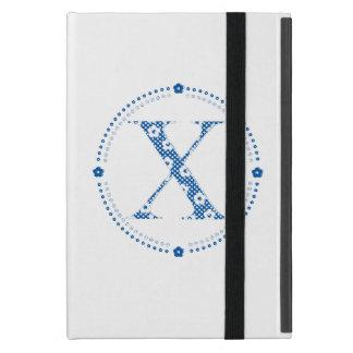 alfabeto X de la flor (azul y puntos) iPad Mini Carcasas